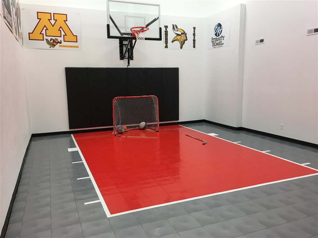 2018 BATC Fall Parade of Homes #129 Indoor Game Court installed by Millz House with SnapSports Athletic Tiles
