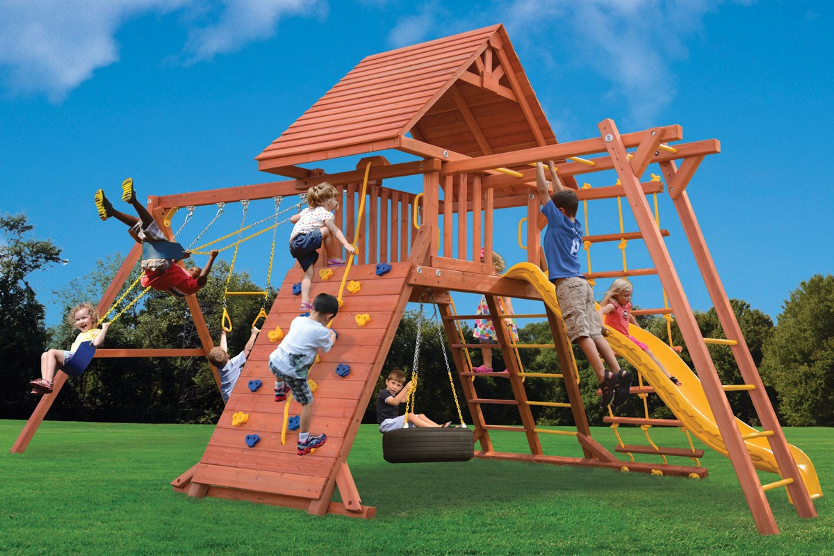Millz House sells wooden playsets such as this combo 3 with monkey bars