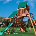 Original Playcenter Combo 4 outdoor swing set with monkey bars and sky loft