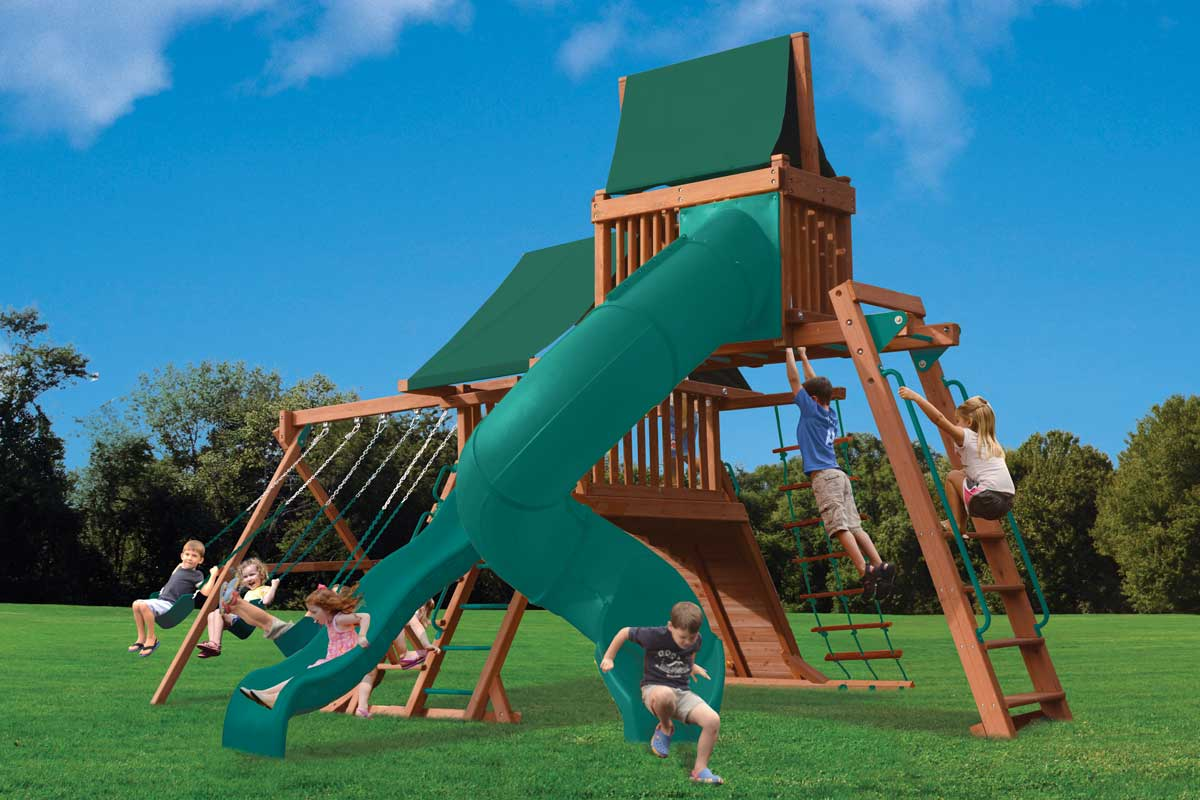 Original Playcenter Combo 5 wooden swing set with monkey bars, skyloft with canopy roof, deluxe spiral slide