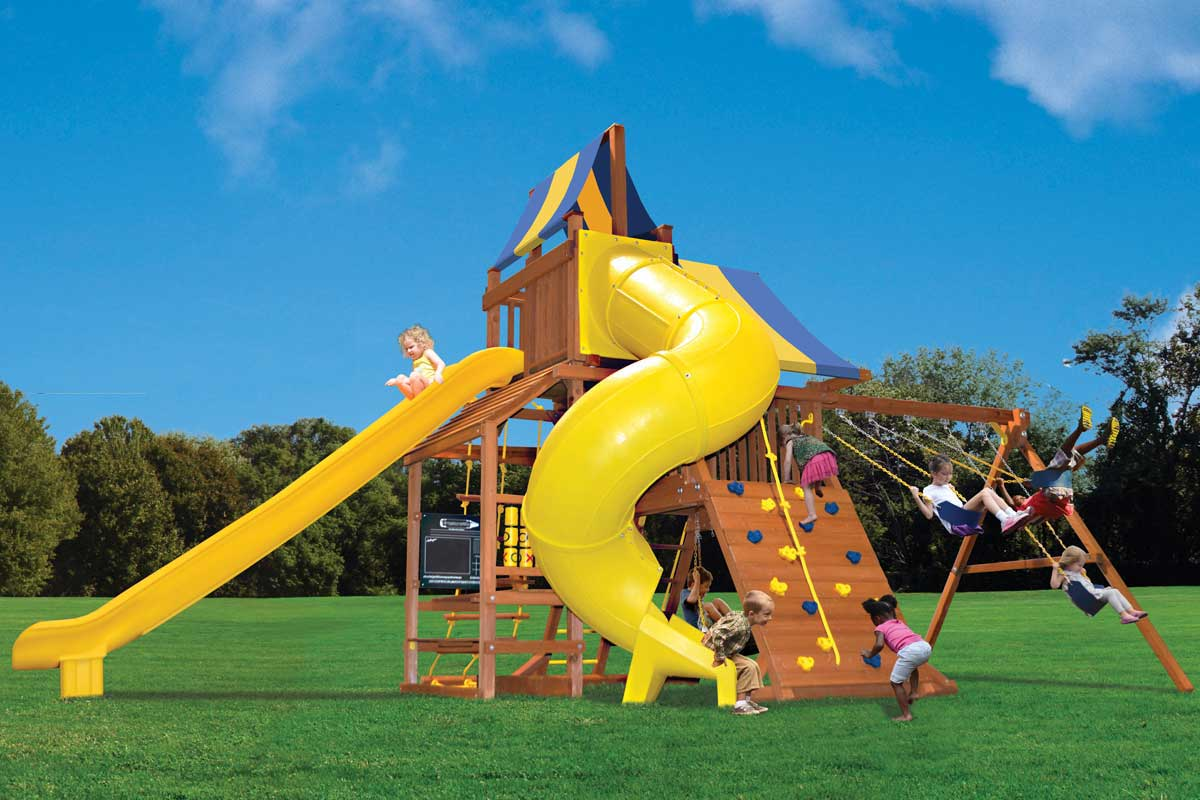 Original Playcenter Grand Slam kids swing set with sky loft, deluxe spiral slide, extreme super ride slide, cafe table, tic tac toe panel