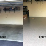 Millz House Before and After Photo of Garage Floor With Floor Coating