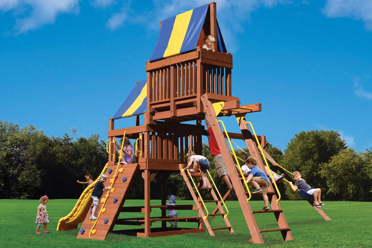 Millz House sells Playground One Original Fort Combo 4 Play Set with monkey bars and sky loft