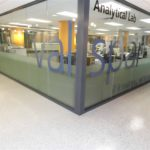 epoxy floor coating installed at Valspar lab provides a durable finish to the concrete floor