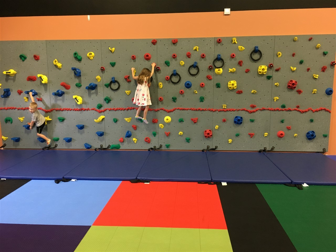 The traverse climbing wall at the Millz House Showroom in Apple Valley is one of the many products available.
