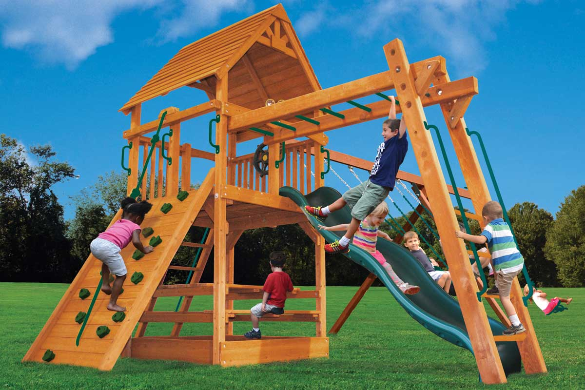 Playground One Deluxe Fort Play Set with Monkey Bars