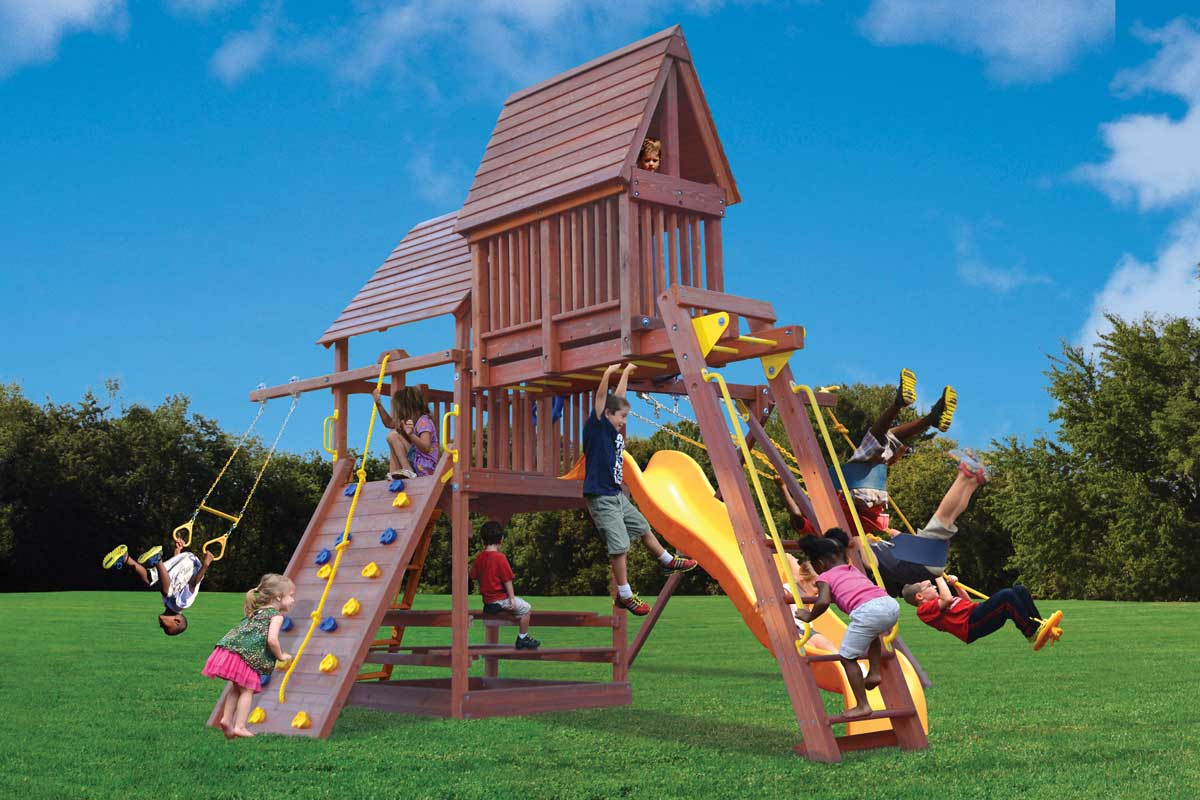 Playground One Deluxe Fort Play Set with Monkey Bars and Sky Loft
