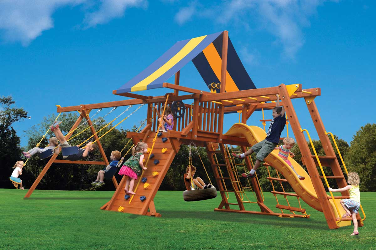 Playground One Deluxe Playcenter Swing Set with Monkey Bars