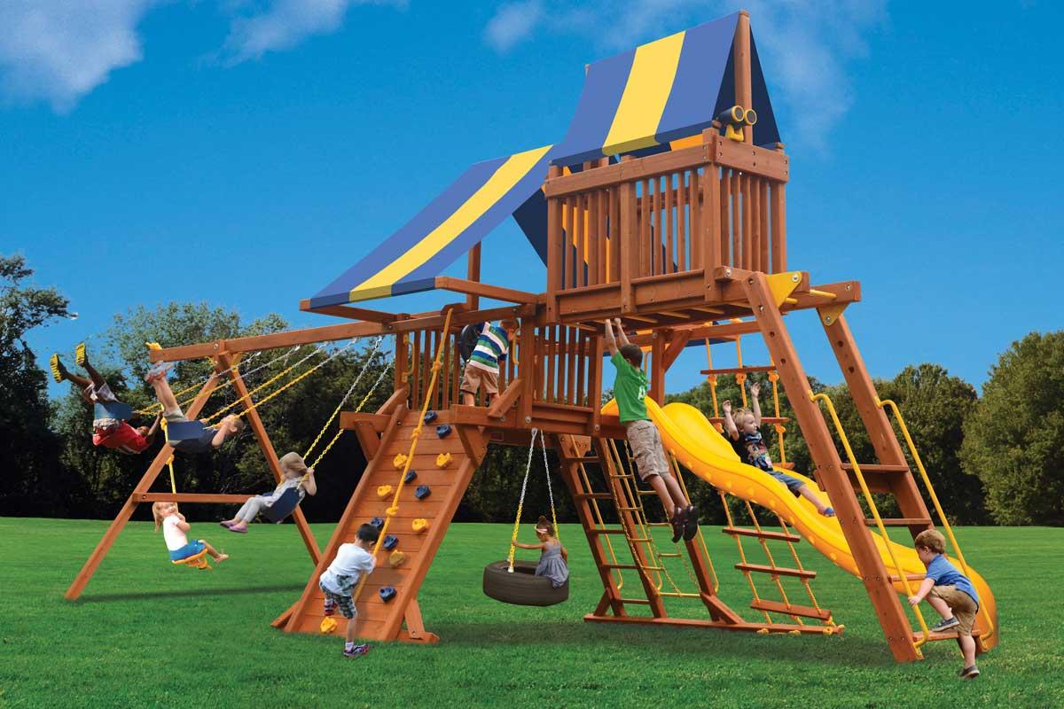 Playground One Deluxe Playcenter Swing Set with Monkey Bars and Sky Loft