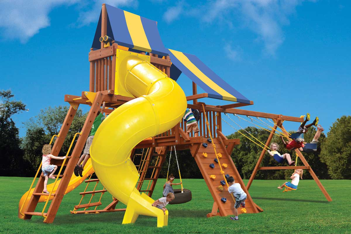 Playground One Deluxe Playcenter Play Set with Monkey Bars, Sky Loft and Twist Slide