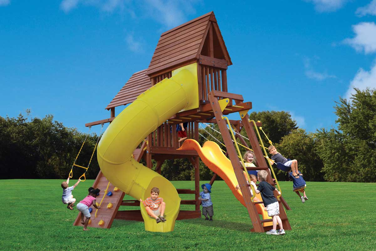 Playground One Deluxe Fort with monkey bars, skyloft and spiral slide